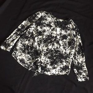 Talbots Black and White Print Blouse